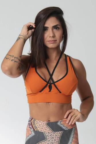 Cropped Fitness Tiras Costas e Busto Cobre