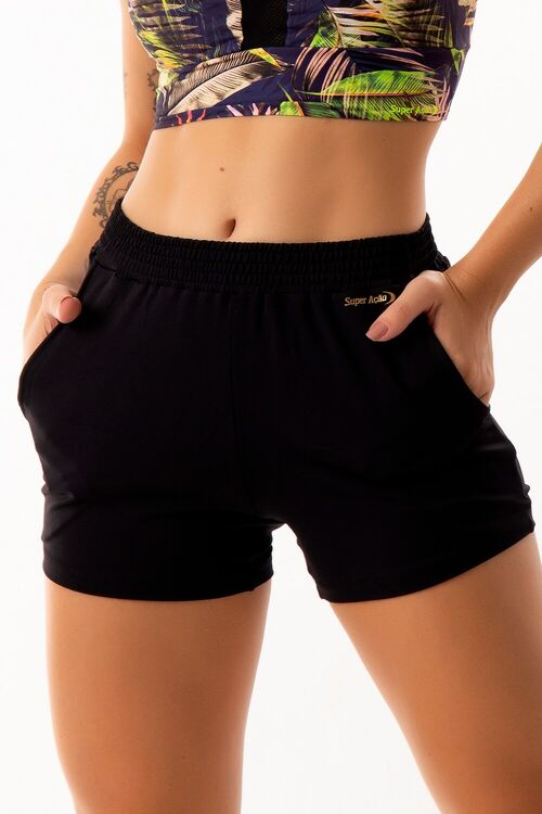 Short Fitness Running Bolsos Laterais Preto