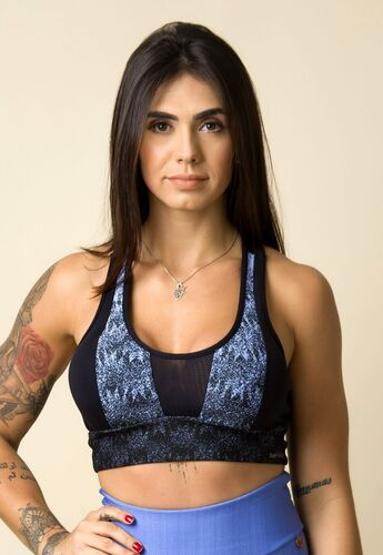 Cropped Fitness Costas Nadador Jacquard Degradê Azul