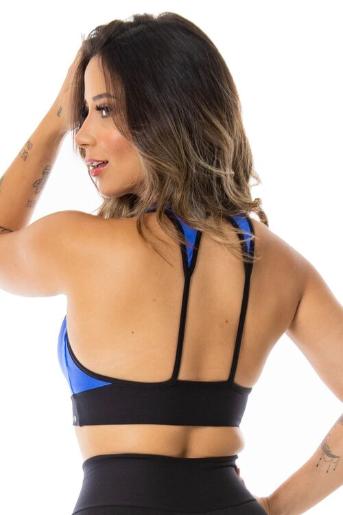 Top Fitness Decote V Transpassado Azul e Preto