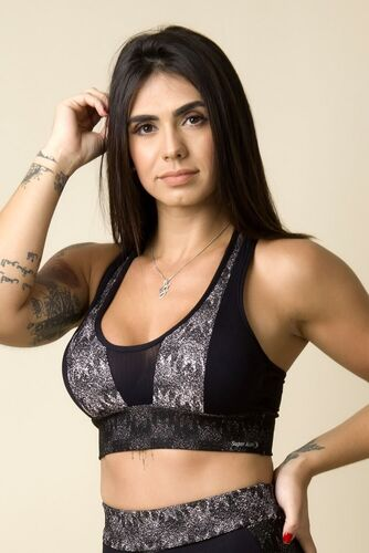Cropped Fitness Costas Nadador Jacquard Degradê Rosê