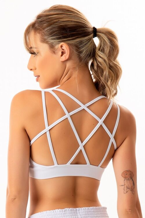 Top Fitness Decote V Tiras Brancas Costas Branco