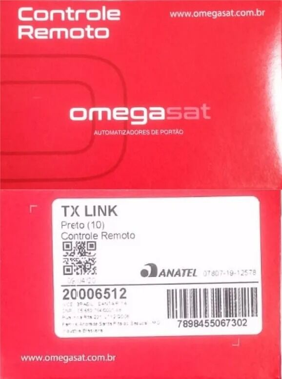 CONTROLE OMEGA TX LINK 433,92 MHZ