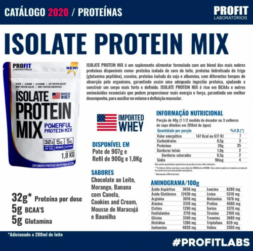 Whey Isolate Protein Mix Refil - Profit labs - 1,8 kg