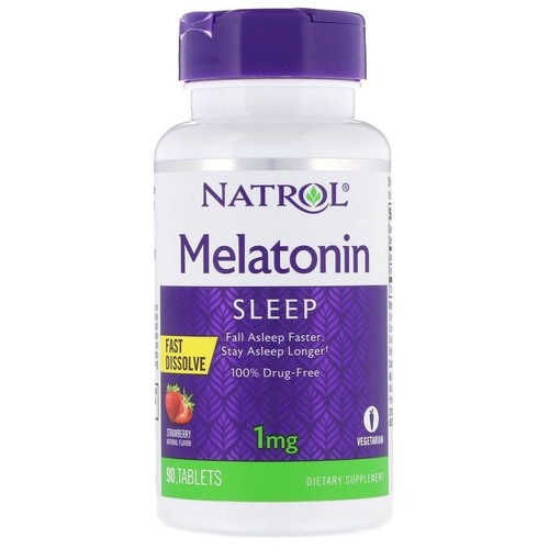 2 x Melatonina 1 mg fast dissolve sublingual - Natrol - Total 180 tablets sabor Morango (hormônio do sono)