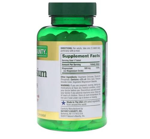 Magnésio 500 mg - Nature´s Bounty - 200 Tablets