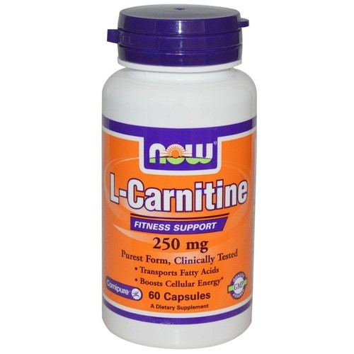 L-Carnitine Tartrate Carnipure  250 mg - Now Foods - 60 cápsulas
