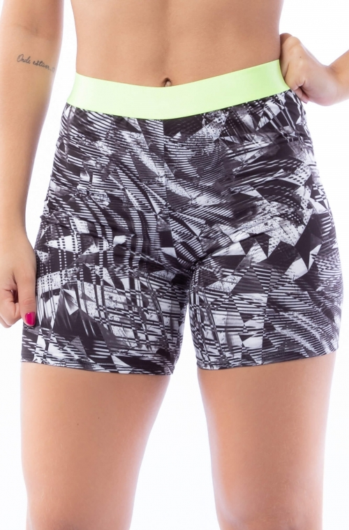 Short Estampado Black and White com Elástico Neon
