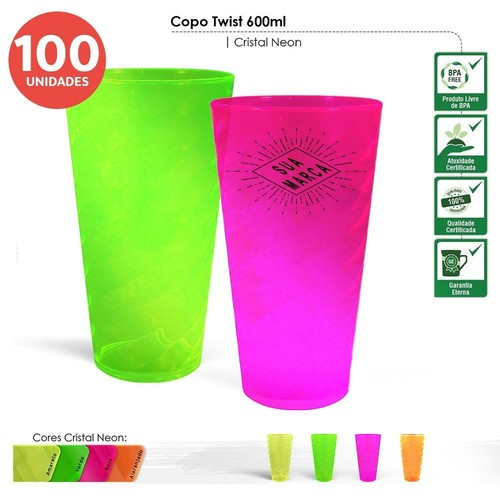 Copo twist neon 600ml