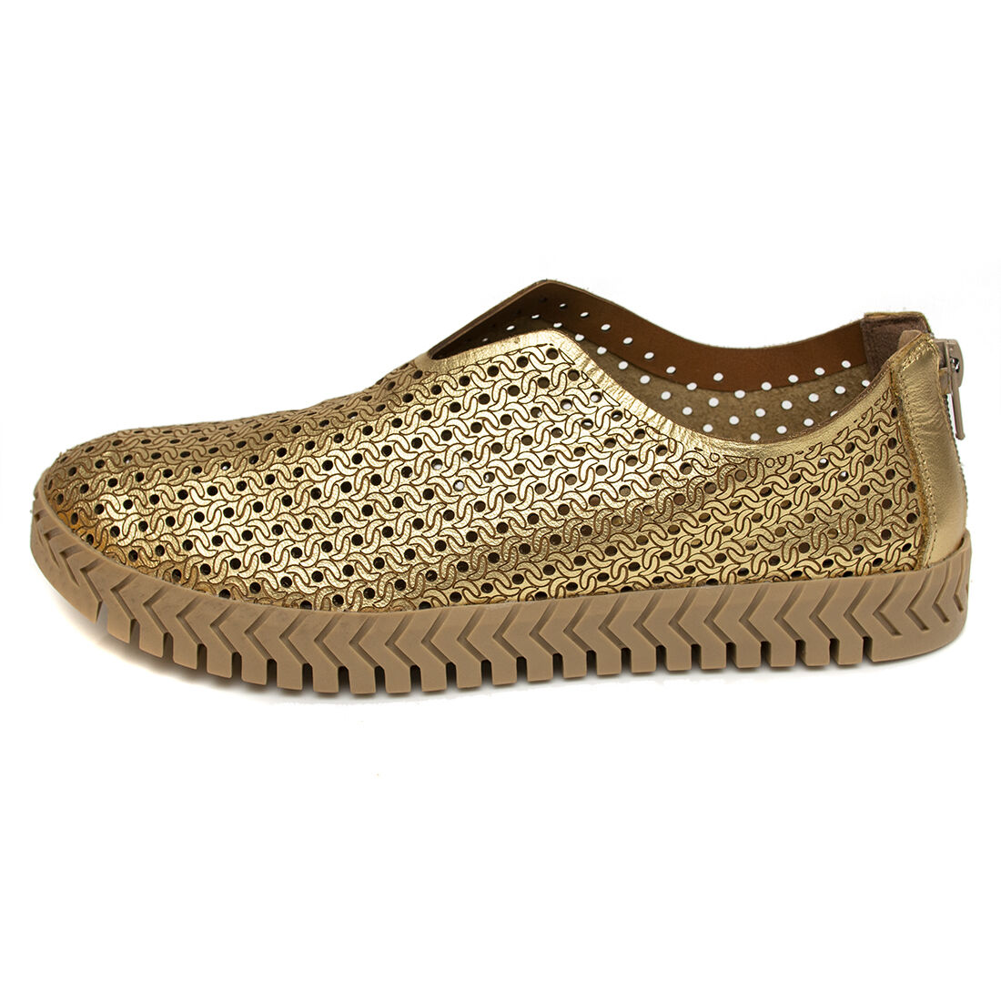 Slip On Orcade em Couro Abertura Frontal Ouro
