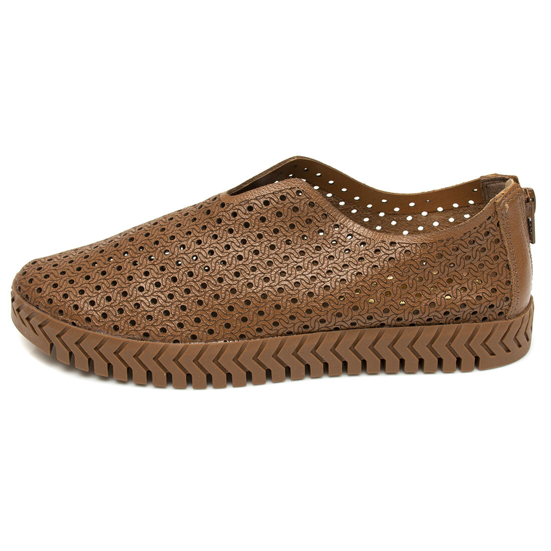 Slip On Orcade em Couro Abertura Frontal Cuoio
