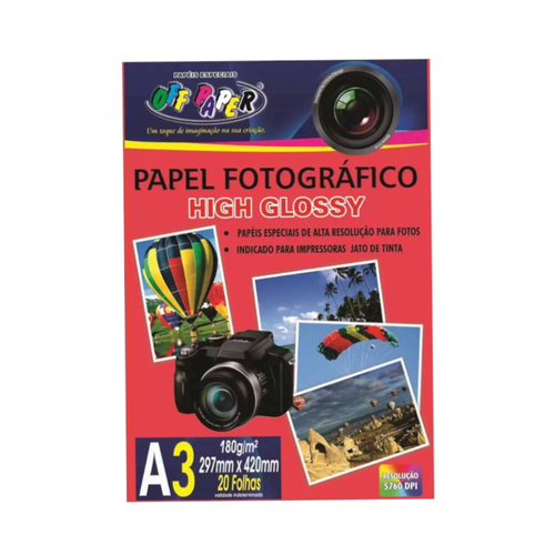 Papel Fotográfico A3 Off Paper 180g High Glossy 20 Folhas