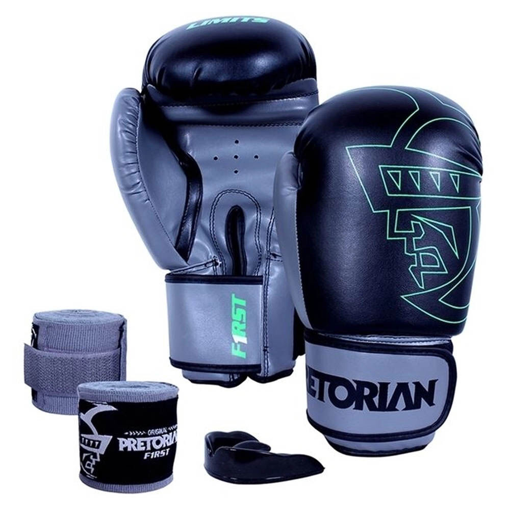 Kit Boxe Conjunto First Luva 12 OZ + Bucal + Bandagem Pretorian