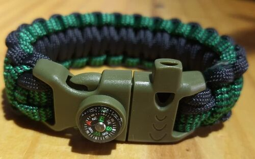 Pulseira Paracord 550 com Fecho 4+1 - Wave Green- DS84 COMBAT