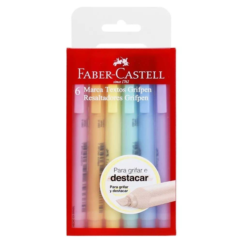 Marca Texto Grifpen Pastel 6 cores Faber-Castell