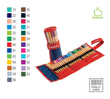 Caneta Stabilo Point 88 Rollerset  com 25 cores