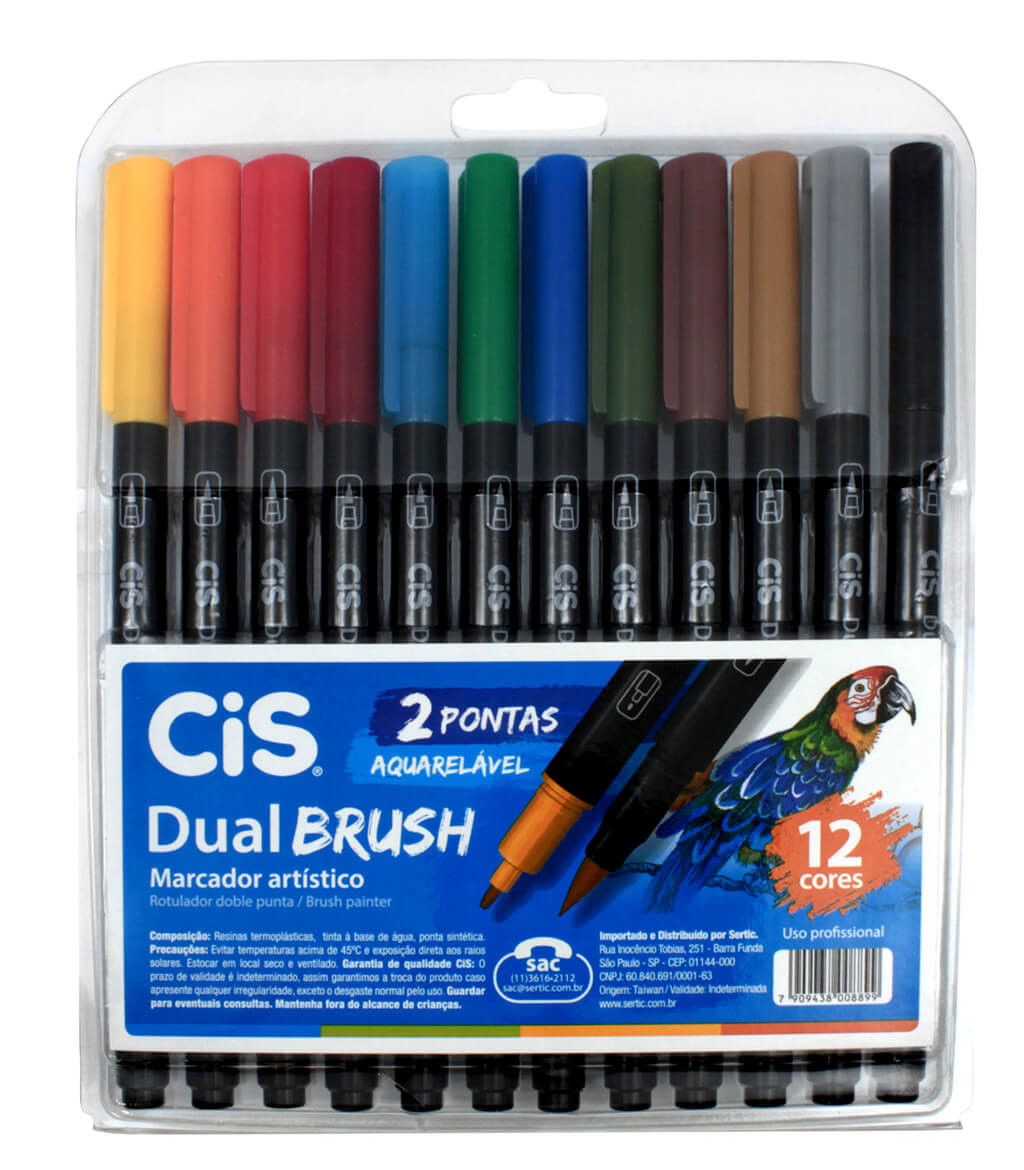 Caneta Dual Brush 12 cores aquarelável CIS