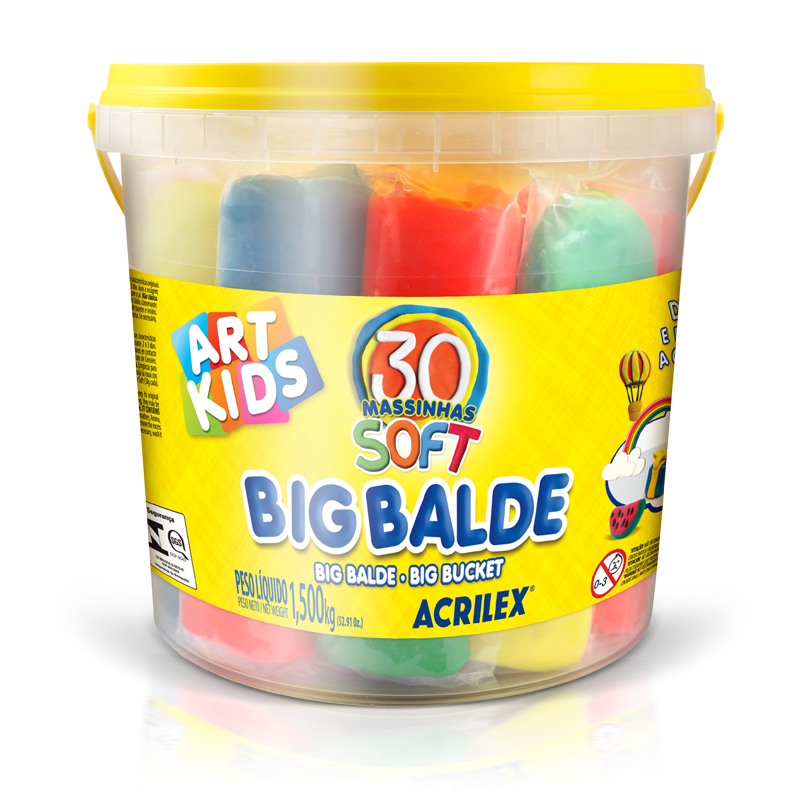 Big Balde 30 Massinhas Soft Art Kids 1,5K Acrilex
