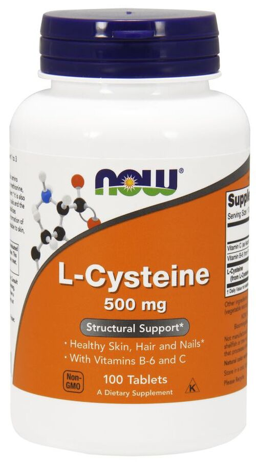 L-Cysteine 500 mg - 100 Tabletes - Now Foods-vencto 04.20
